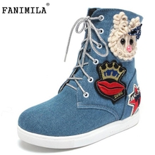 Women Round Toe Mid Calf Boots Woman New Design Cartoon Denim Short Boot Fashion Lace Flat Shoes Footwear Size 34-43 - Shop1267192 Store store