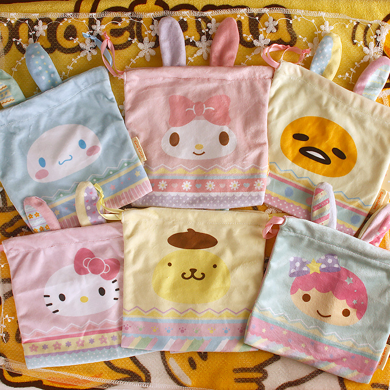 New Japan Sanrio Dolls Easter Series Cartoon Melody Gemini Cinnamoroll Hello Kitty Pouch Small Bag Dolls for Kids Gifts(China (Mainland))