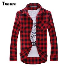 TANGNEST Мужчины Клетчатую Рубашку Camisas 2017 Новое Прибытие мужская Мода Плед Рубашку с Длинными рукавами Мужские Случайные Высокое Качество рубашка MCL1555(China (Mainland))