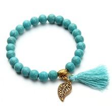 Nature Turquoise Beads Bracelet Joker Tassel Leaves Pulseiras Charm Bracelets & Bangles for Women Jewelry F2833(China (Mainland))