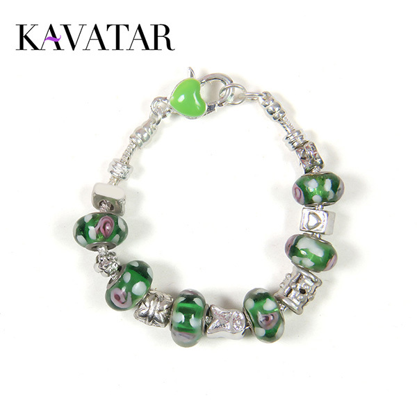New Fashion Crystal Sliver Plated Classic Ball Beed Snake Chain Bracelets for Woman Green Magnificent Pulseras mujer Gift(China (Mainland))