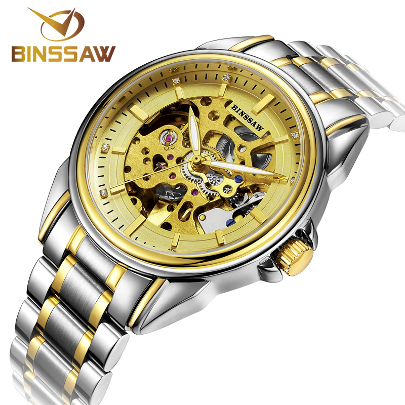 Full Steel Stainless Band BINSSAW Luxury Brand Sports Men's Automatic Skeleton Mechanical Military Wrist watch Men Fashion Watch(China (Mainland))