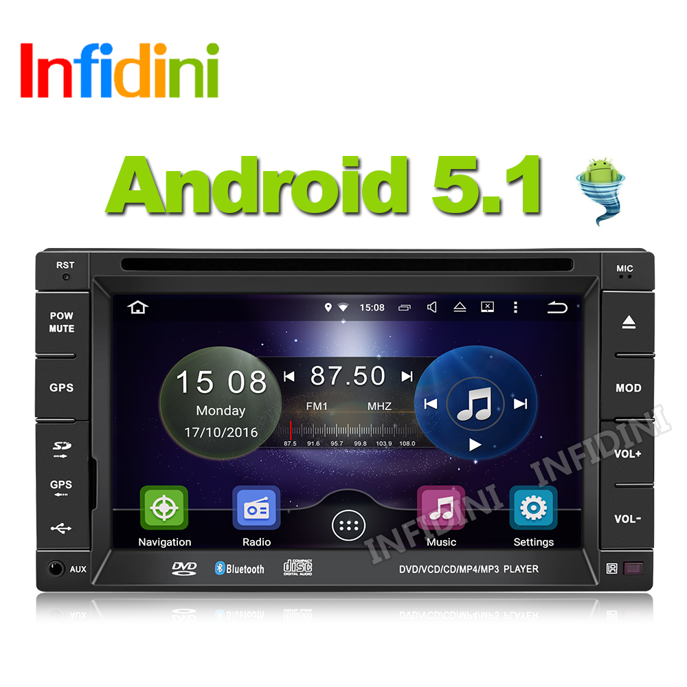 Infidini android 5.1 car dvd universal 2 din in dash car gps navigation radio video audio gps player x-trail tidda dvd player(China (Mainland))