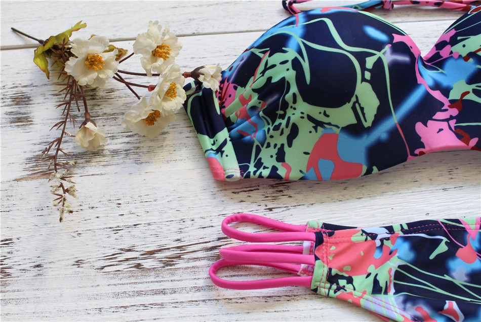 New European and American fashion hot sexy gradient printing hard package bikini bind tether with hollow out bathing suit