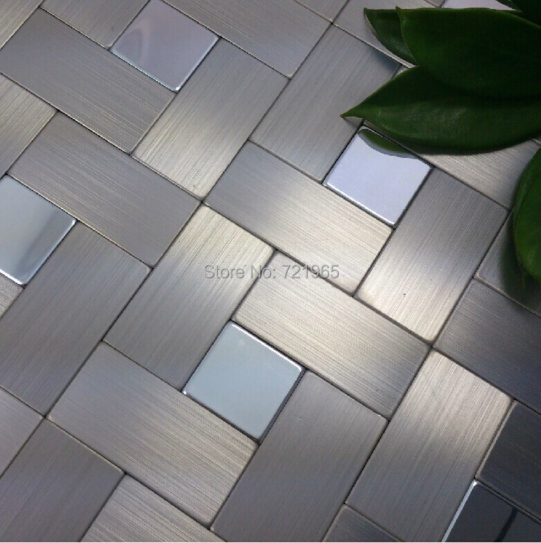 Brushed Stainless Steel Backsplash: Brushed Silver Metal Mosaic Wall Tiles Backsplash ALMT026