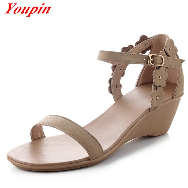 Sandals Flowers PU Help Hot New Products 2016 Summer Sweet Leisure Woman Sandals Wedges Bohemia Shoes Women Toe Genuine Leather<br><br>Aliexpress