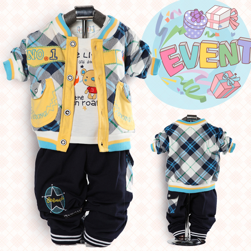 newborn baby boy cartoon plaid clothing suits two pockets jacket white t shirt pants kids gift sets - Ethan Zhu's Store store