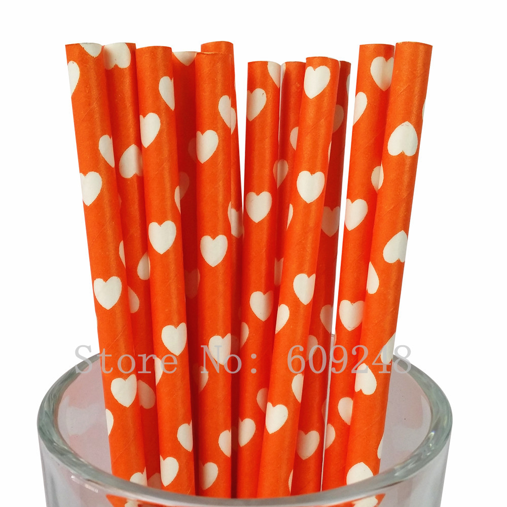 100pcs Orange Heart Paper Straws,Bulk Custom Decorative Valentines Party Drinking Paper Straws Cake Pop Sticks Mason Jar Straws(China (Mainland))