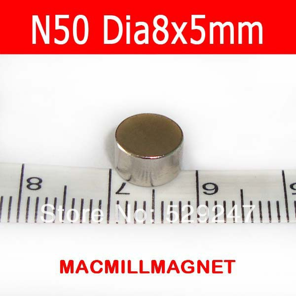 50pcs/pack, dia8x5mm supper strong magnets N50, Rare-earth Neodymium Magnetic disc,Free Shipping(China (Mainland))