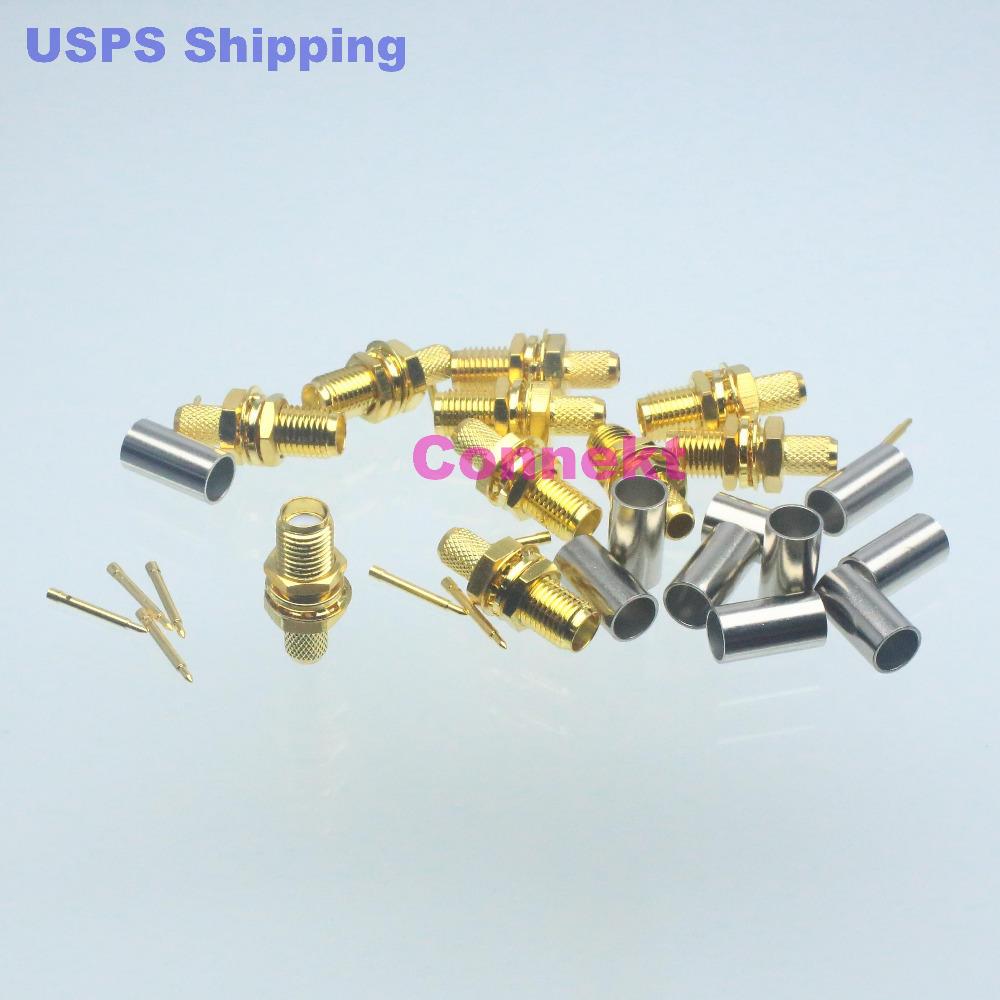 10pcs connector RP*SMA female plug nut bulkhead crimp RG58 RG142 LMR195 RG400 F(China (Mainland))