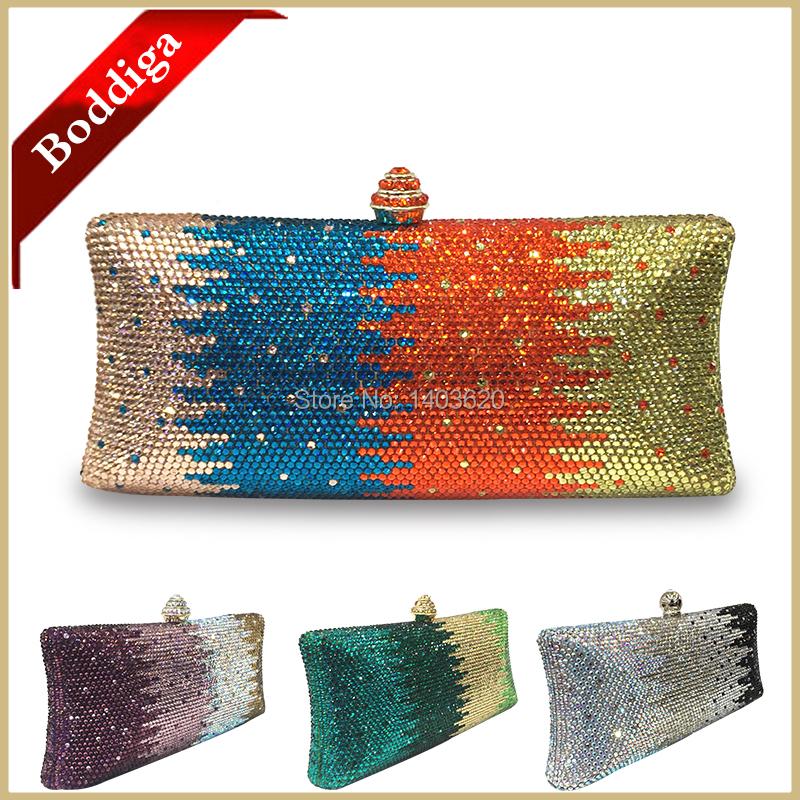 New Orange Bag Square Box Style Clutch Women Crystal Clutch Bag Green Gold Purse Silver Handbag Purse Brand Bag DHL Free Ship(China (Mainland))