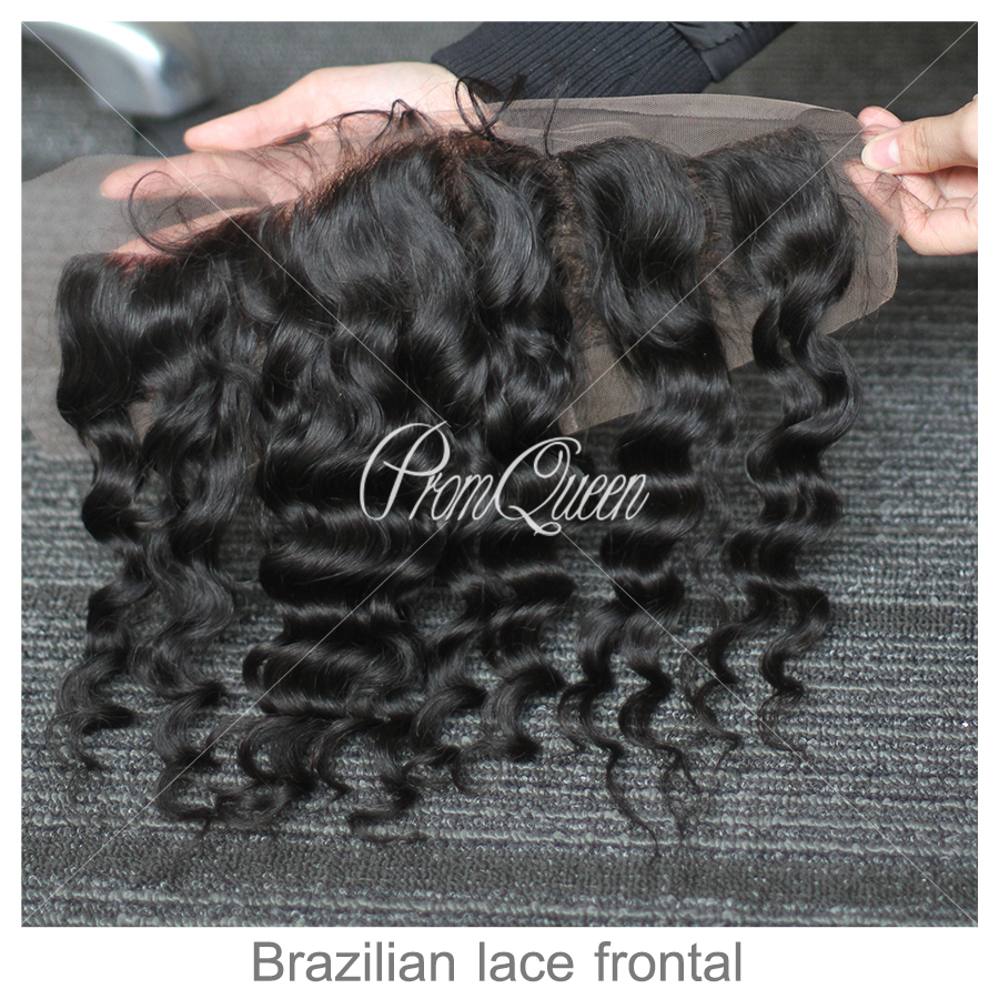 100% human hair Virgin Brazilian hair Unprocessed hair 10-18 loose wave bleached Knots lace frontal 13x4<br><br>Aliexpress