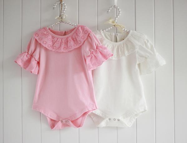 Cute Newborn Kid Baby Jumpsuit Bubble Sleeve Ruffled Lace Collar Bodysuit Shirt<br><br>Aliexpress