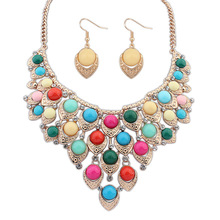 2016 Sapphire Jewelry Selling Promotion Necklace/earrings Women Crystal Jewelry Sets African Beads Set Se115 Bohemia Geometry