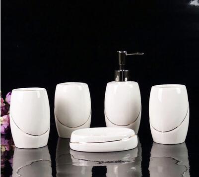 خط الذهب نمط خمسة-- قطعة صينية 5 3 أكواب و1 زجاجة السائل صابون التواليت مربع 1 القاري أكواب السيراميك الحمام مجموعة الحمام(China (Mainland))