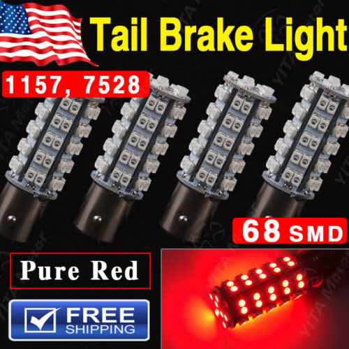 2015 New Car Styling Led Lights Bulbs for Car 4X Super Red BAY15D 1157 68-SMD Tail Stop Brake Light LED Lamp Bulb 7528 2357(China (Mainland))