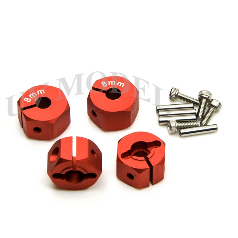 Cool Red High Quality 12mm Aluminum Hex Wheel Hub 8mm Thickness Mount and Pins Universal RC Car Accessories(China (Mainland))