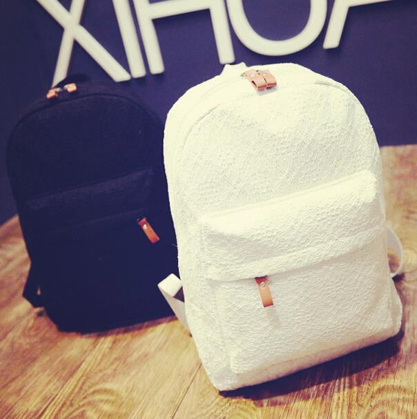 2015 Women Lace Backpacks Canvas Shoulder School Bag For Girl Ladies Teenagers Travel Bags Schoolbag Bagpack Mochila Feminina(China (Mainland))