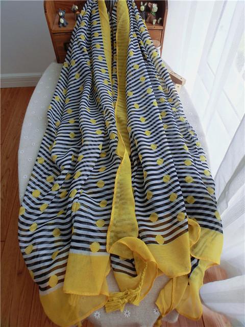 2016 женщин кисточкой шарфы мода бренд вуаль женские платки и дерьмо autunm и весна и зима пашмины печать точка wjsh008