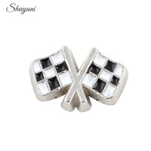 YANI 20PCS/Lot Black And White Enamel Racing Chequered Flag Floating Locket Charms For Glass Memory Locket Necklace