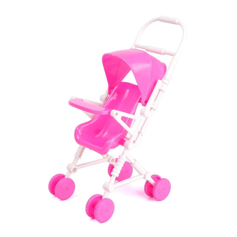 New Pink Assembly Baby Stroller Trolley Nursery Furniture Toys for Barbie Doll #68455(China (Mainland))