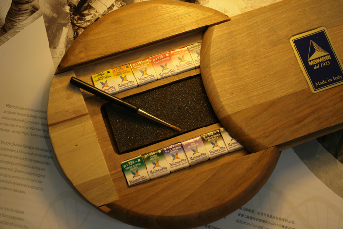 Freeshipping MAIMERI Artist level  Solid Watercolor Pigment 12 Color Wooden Box high-ranking Suit