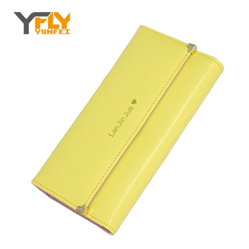 Y-FLY Simple 3 Fold Wallet 2016 News Women Hand Bags Heart Casual Long Wallet Card Holder Purse Phone Bag Cash Wallets NW6016(China (Mainland))
