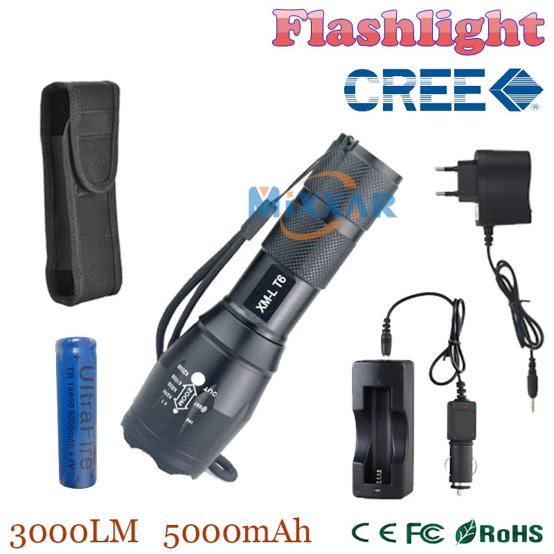 ZK35 3000 Lumens CREE XM-L T6 led flashlight adjustable waterproof with 1*18650 battery one flashlight sleeve DC/Car Charger<br><br>Aliexpress