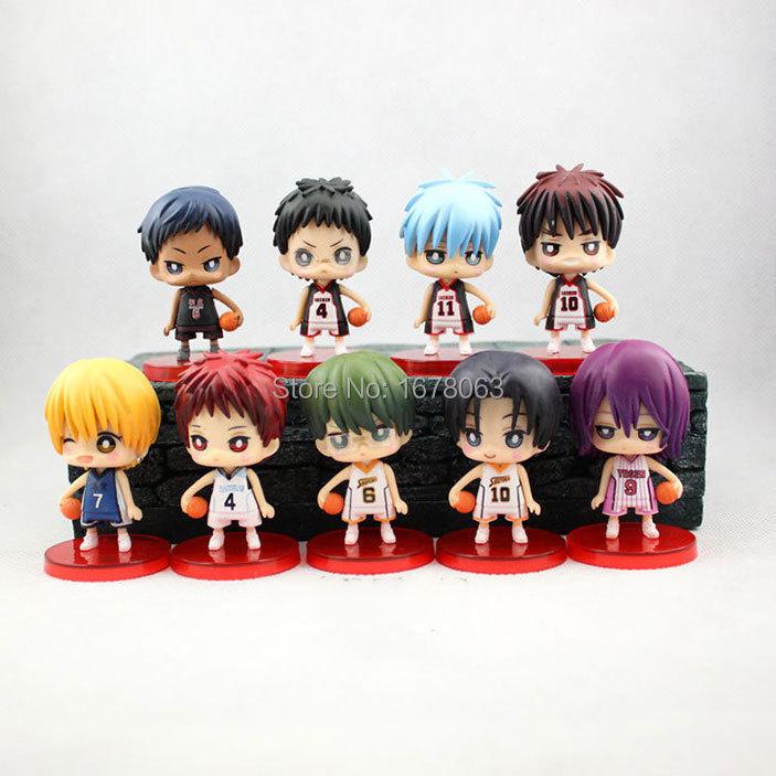 Japan Anime Kuroko no Basket Kotobukiya Tip Off Toy Cute Big Head Model Figure 9 Pcs Set Slamdunk(China (Mainland))