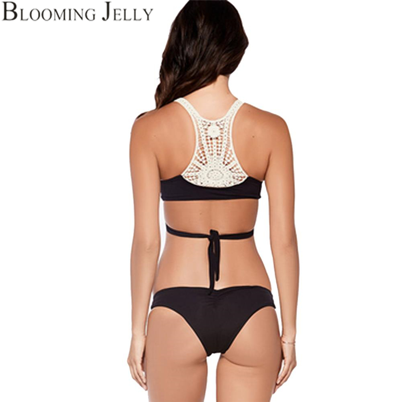 Back Crochet Bikini Set Push Up Wrap Halter Bikini Bandage Bathing Suits Hollow Women Bikini Black Swimsuit Sexy Swimwear 2016(China (Mainland))