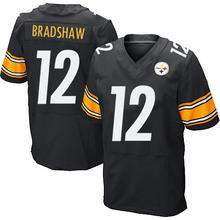 Men's #12 Terry Bradshaw Elite Black Team Color Football Jersey 100% Stitched(China (Mainland))