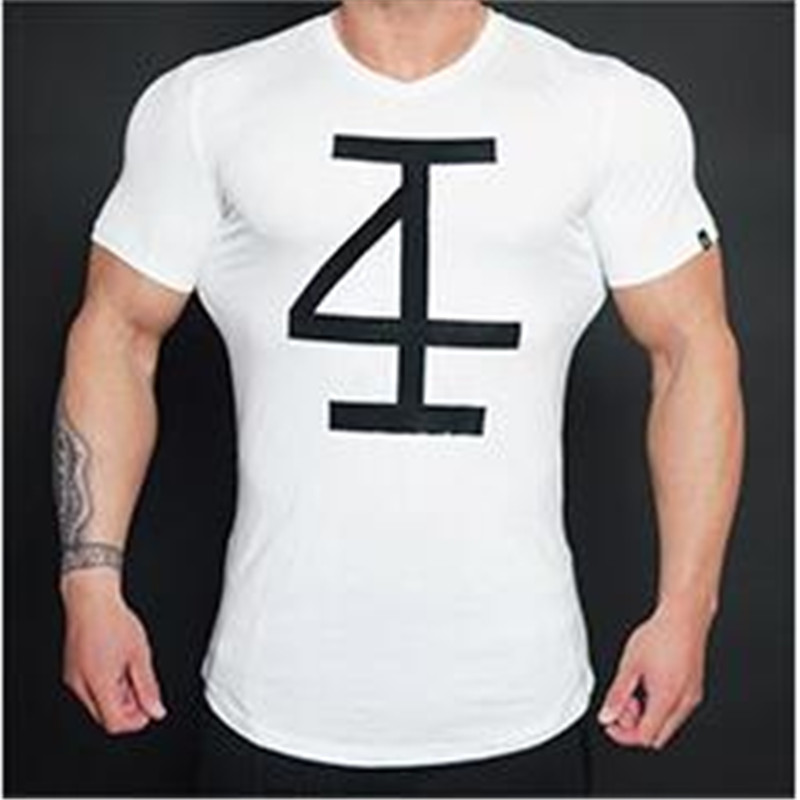 new gym men's summer 2016 short sleeve T-shirt male fitness movement Pure cotton elastic round collar tight fashion T-shirt(China (Mainland))