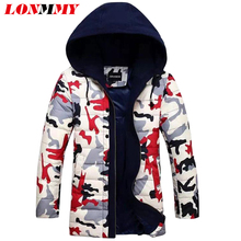 LONMMY New 2016 Camouflage Duck down coat with Hoodies Winter duck down jacket men Long hoods parka men Military style M-3XL(China (Mainland))