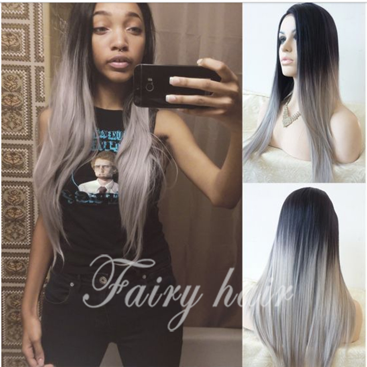 Sexy silk sraight gray synthetic lace front wig glueless ombre color black and gray lace front wig heat resistant hair wigs<br><br>Aliexpress