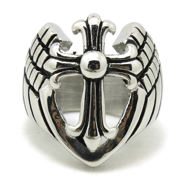 Mens Boys 316L Stainless Steel Cool Newest Design Cross Angle Wing Ring New Arrival Factory Price(China (Mainland))