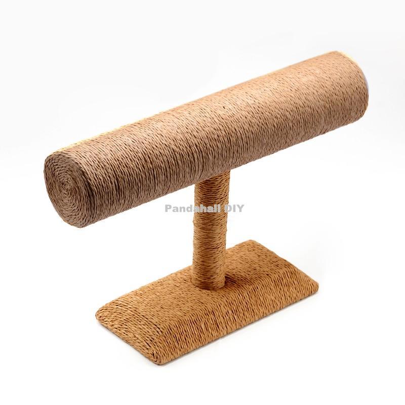 T Bar Straw Rope Bracelet/Bangle Display Stands, BurlyWood, 24x18x7.4cm,2pcs/lot(China (Mainland))