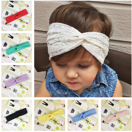 8 colors Baby Lace Retro Turban Twisted Head Wrap Headband Kids Knotted Hair Band Children Hair Accessories 10pcs HB203(China (Mainland))