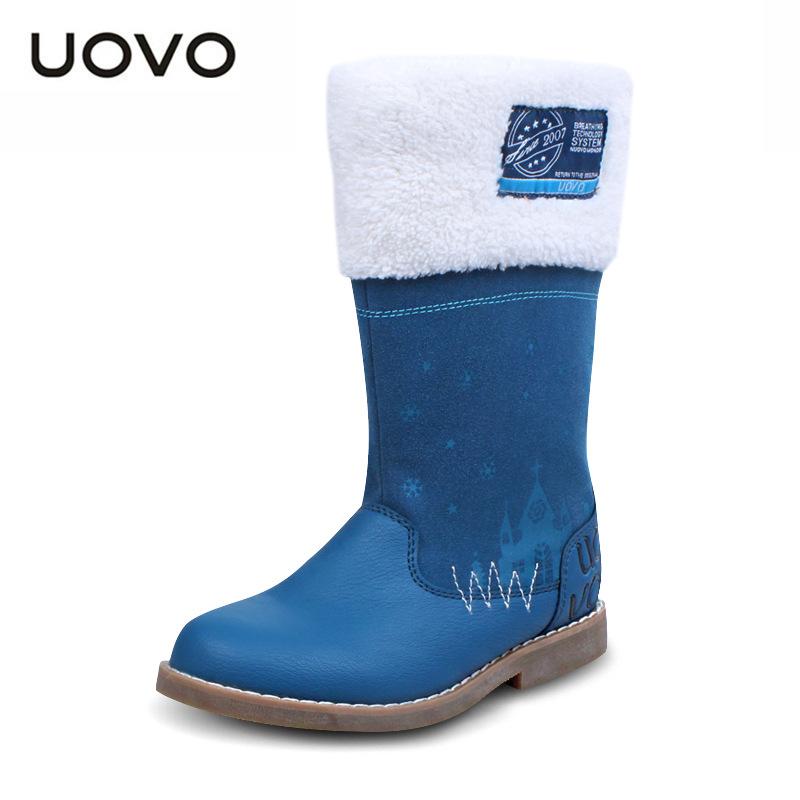 UOVO brand 2016 winter non-slip warm children boots flat heel med tube girls' boots round warm fashion sweet kids' snow boots(China (Mainland))