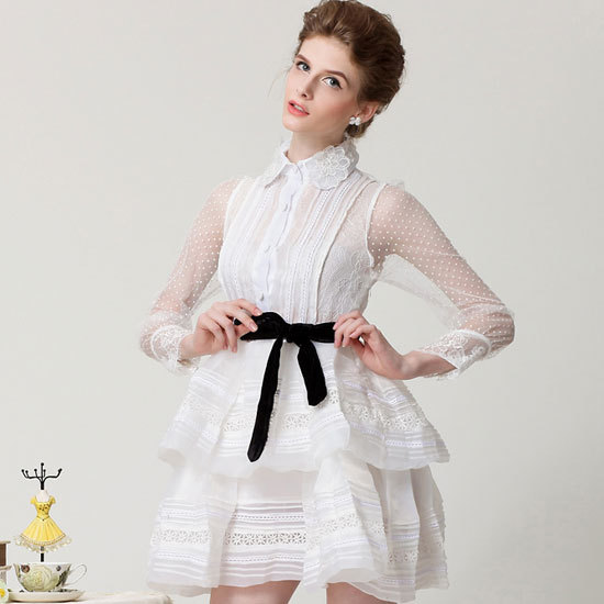 Great Ladies Vintage Retro Lace Print Slim Fit Belted Ruffle Long Sleeve White Organza Chiffon Dress - Silverwings store
