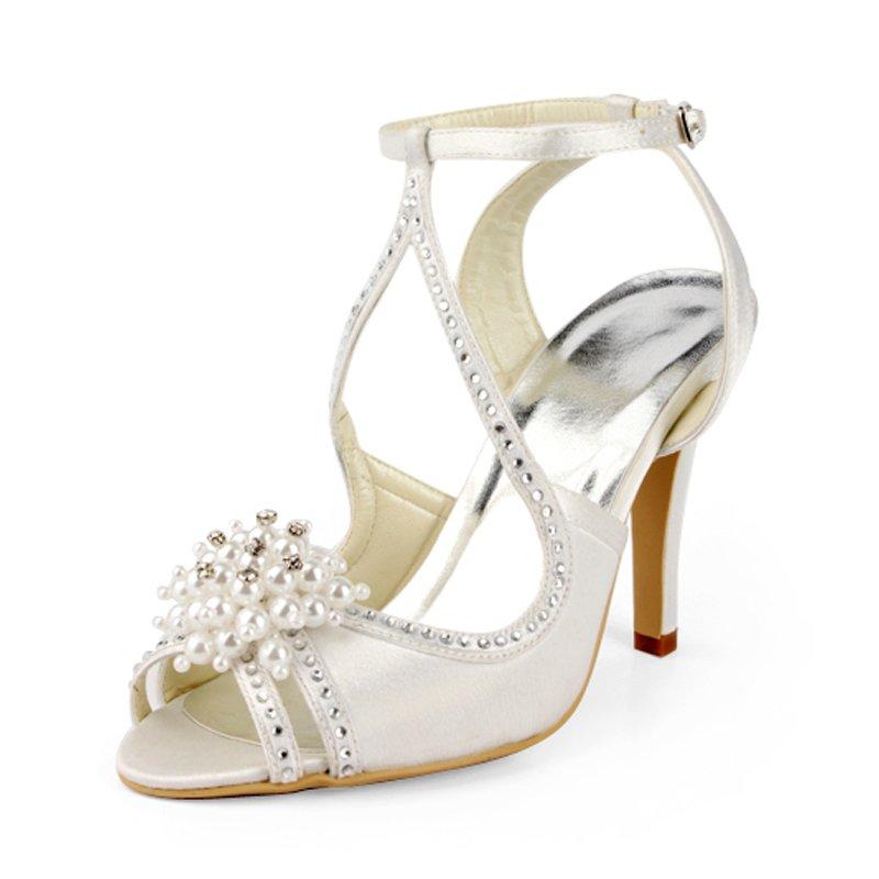 Ivory Satin Peep Toe Bridal Shoes