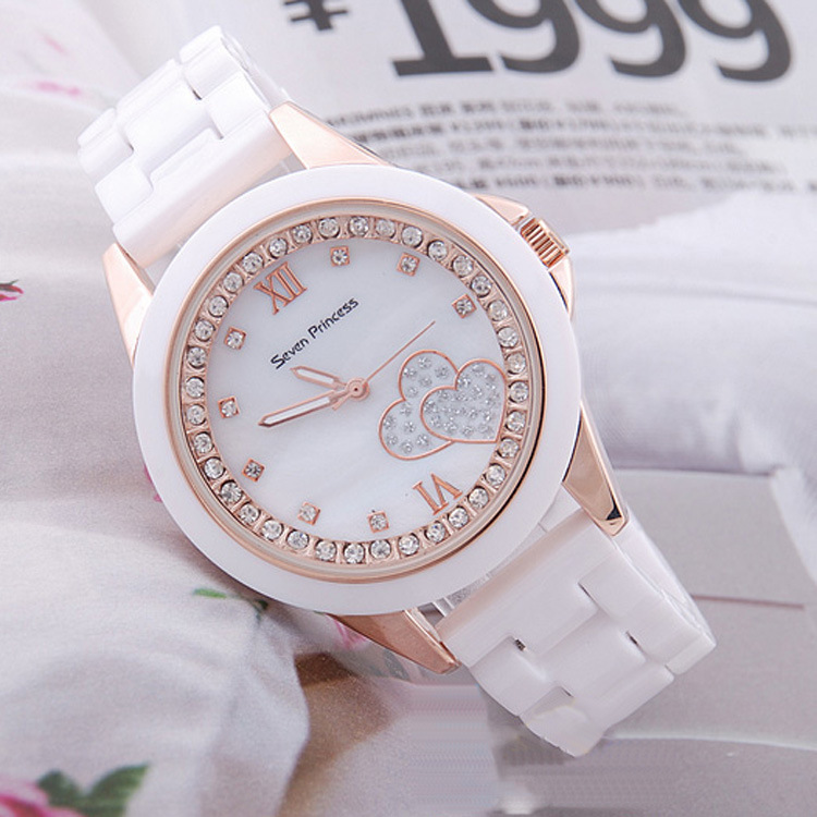 Free shipping, The new popular foreign trade 2013 seven princess ceramic watches storm watch love watches(China (Mainland))