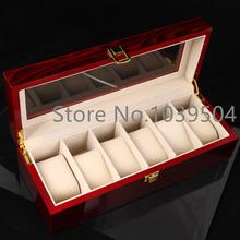 6 redes alta Quanlity caja de madera del reloj laca caja de reloj de madera moda cajas de regalo 0911
