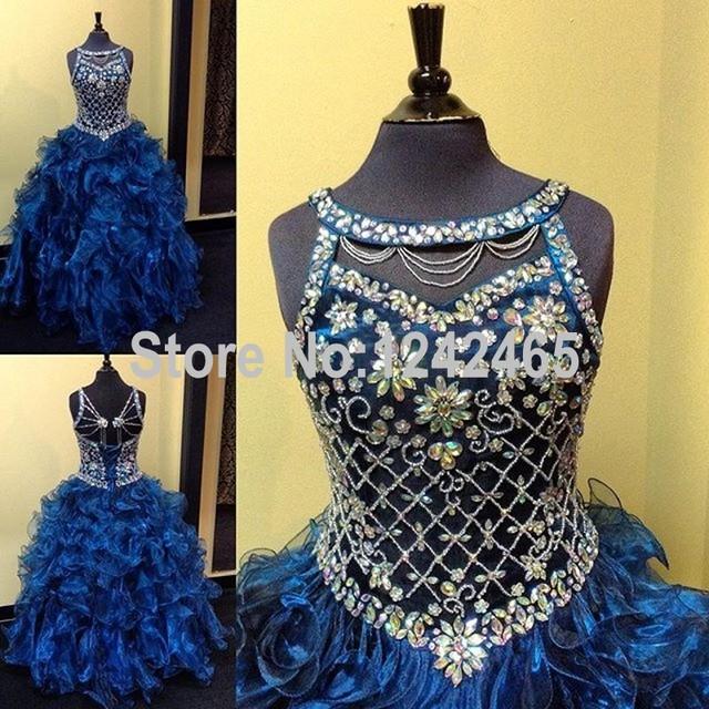 2016 реальные изображения бальное платье кристалл бисером детские платья для ну вечеринку ...