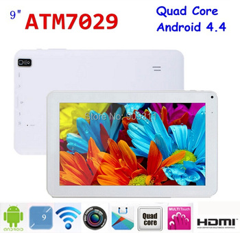 Factory! 9 inch Android 4.4 Quad Core tablet pc ATM 7029 8GB 1024 x600 Dual camera Bluetooth HDMI Flashlight tablet pc 9