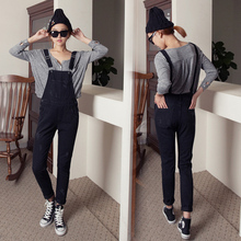 S1F108#1546 2016 New Women Korean Bleached Ripped Denim Overalls Black Denim Jumpsuits Female Washed Strap Trousers