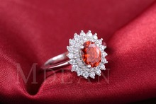 Ruby Jewelry White Gold Filled Rings For Women CZ Diamond Wedding Engagement Bague Luxury Accessories with