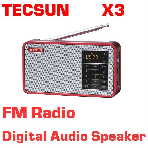 Free shipping TECSUN X3 FM Radio Digital Audio Speaker FM 64-108 MP3 Player(China (Mainland))