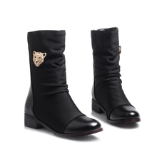 cool style Soft Leather mid-calf women boots Plus Size 41 42 43 44 45 46 47 Round Toe Boots - LUKU CO., LIMITED store
