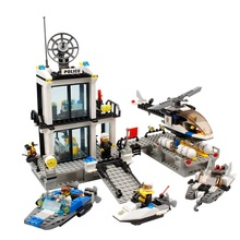Free Shipping Police Station Truck City Plane ship Motorcycle Building Block Set Education Figures Bricks Toys Compatible