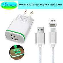 Buy 2A EU Plug Dual USB Mobile Phone Wall Charger Adapter w/ LED Light & Type C USB Charging Cable Elephone P9000 Travel Charger for $3.48 in AliExpress store